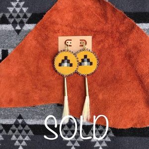 Native American Beaded Horse Hair Earrings